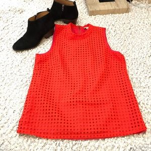 J. Crew Eyelet Shell Sleeveless Top Coral Size 8